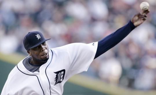 The Tigers' Dontrelle Willis, having recovered from an anxiety disorder, allowed only one hit in 6 1/3 innings of work against the Rangers.