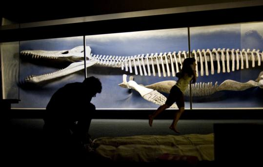 Geoff Edgers and his daughter, Lila (above), prepare a place to sleep in front of the 42-foot-long Kronosaurus while keeping an eye on museum creatures like the wild boar and Mongolian tiger.