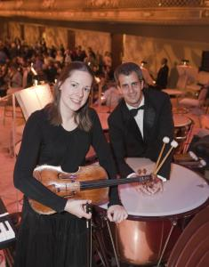 John Williams's concerto written for Pops violist Cathy Basrak includes a duet with her husband-timpanist Timothy Genis.