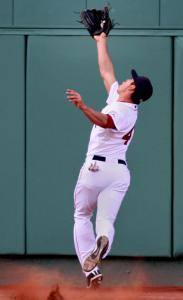 Speedster Jacoby Ellsbury tied a major league record with 12 putouts last night.
