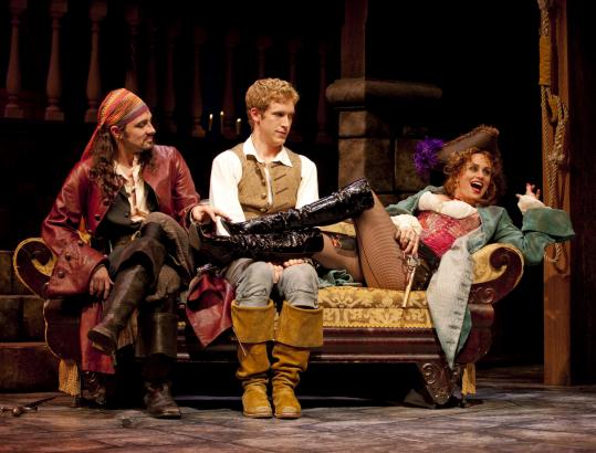 From left: Steve Kazee (as the Pirate King), Anderson Davis (Frederic), and Cady Huffman (Ruth) in ''Pirates! (Or, Gilbert and Sullivan Plunder'd).''