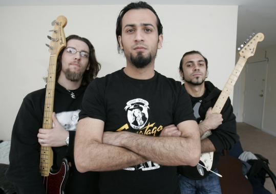 Acrassicauda is (from left) bass player Firas al-Lateef , drummer Marwan Riyadh, and guitarist and lead singer Faisal Talal (lead guitarist Tony Aziz is not pictured), all of them Baghdadis, who fled threats against their band.