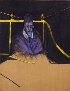 A Francis Bacon retrospective at the Met ranges from early works such as ''Study for Portrait I'' (1953), left, to late paintings including ''Figure in Movement'' (1985), right.