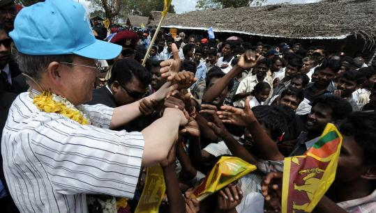 UN Secretary General Ban Ki-moon toured Sri Lanka's biggest refugee camp yesterday and said the country did not have the resources to deal with the tens of thousands who fled fighting with Tamil Tiger rebels.