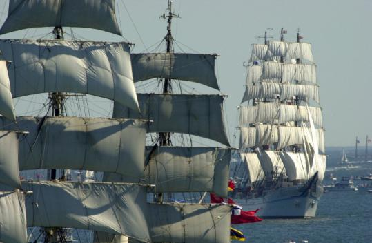 The city of Boston has asked organizers of the Tall Ships event to pay nearly $1 million in public safety costs in advance.