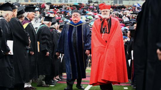 On Monday, Cardinal Sean P. O'Malley wore a formal silk ferraiolo for Boston College's commencement.