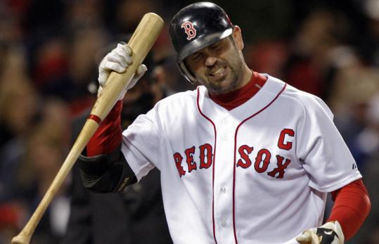 Jason Varitek wasn't happy about striking out, but he's had good moments at the plate lately.