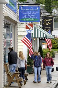 Downtown Main Street is a lakeside collection of shops and restaurants that cater to a summer crowd.