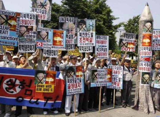Protesters in Seoul yesterday denounced North Korea's underground nuclear test.