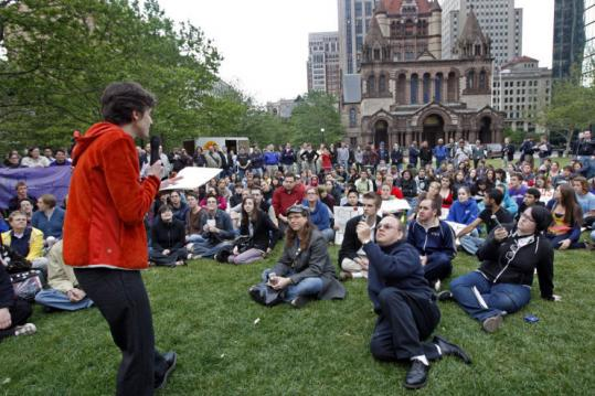 Lisa Marshall spoke to the crowd gathered in Copley Square for a rally following the California Supreme Court decision.