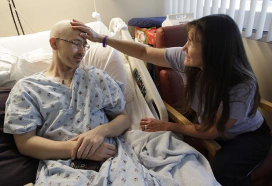 Leukemia patient Nick Glasgow, 28, with his mother, Carole Wiegand, was told he has ''zero chance'' of finding a donor.