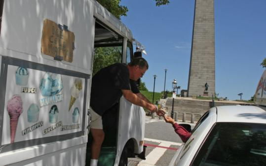 Ice cream vendor Mitch Peters had to move his truck away from Bunker Hill Monument after a safety complaint was lodged.