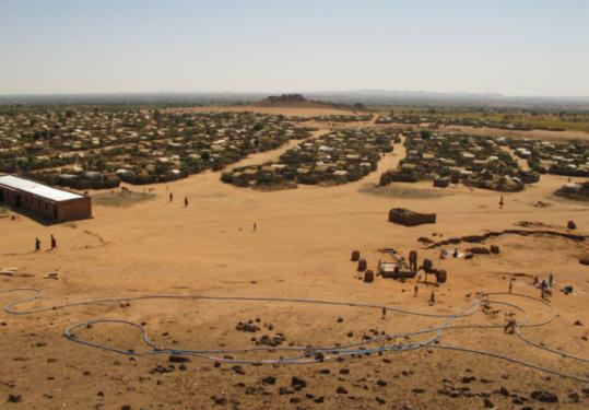 The Farchana Camp, as seen from a hill, is home to about 20,000 people, more than double its intended capacity.