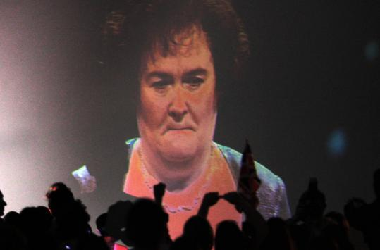 People at a community center in Blackburn, Scotland, watch Susan Boyle during the final of ''Britain's Got Talent.''