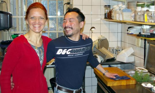 Mikkel Thourp, chef-owner of Turesen in Copenhagen, and waitress Birgitte Moller Staal.