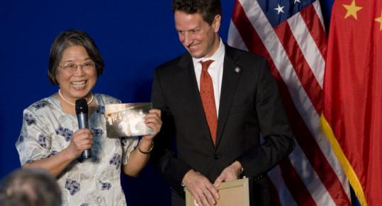 Treasury Secretary Timothy Geithner was reunited with former Mandarin teacher Fu Min yesterday in Beijing.
