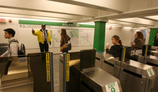 Arlington Station's main entrance at Arlington and Boylston streets reopened yesterday (above) after several years of work to improve access for the disabled. The Green Line stop is one of the few stops that provide such access in the Back Bay.