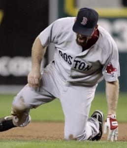 Kevin Youkilis had to leave after getting kicked by Josh Anderson in the eighth.