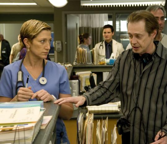 In her new role in ''Nurse Jackie,'' Edie Falco (left, with Steve Buscemi) is playing a character far removed from the mob wife she played in ''The Sopranos.''