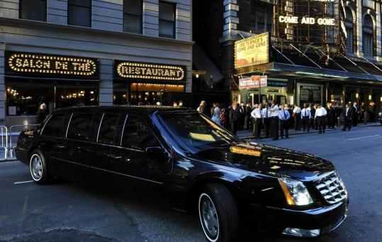 The presidential limo waited outside as President Obama and first lady Michelle Obama attended a Broadway show last weekend. The Obama family plans to travel to Paris today.