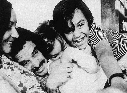Novelist Gabriel García Márquez, in a playful mood with his wife Mercedes and children in the late 1960s.
