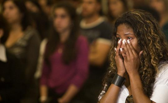 Tuane Rocha, fiancee of a passenger aboard the ill-fated Air France Flight 447, cried during a Mass at Our Lady of Carmo Cathedral yesterday in Rio de Janeiro.