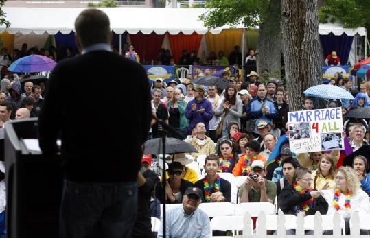 Cleve Jones, speaking yesterday in Salt Lake City, criticized Mormons' role in California's referendum on gay marriage.