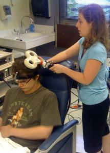 Lindsay Oberman of Beth Israel Deaconess Medical Center used transcranial magnetic stimulation on John Elder Robison, who has Asperger syndrome.