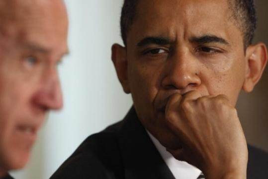 President Obama, with Vice President Joseph Biden, cited concern over the rising jobless rate.