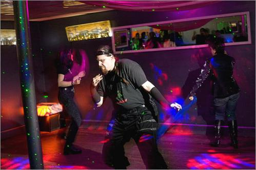 Matt Bosse of Somerville worked the dance floor to a mix of industrial dance tunes. Bosse, aka DJ Dirge, DJs at the Middlesex Lounge and came out to hear the all-girl bill. 'We like to support our scene,' said Bosse's girlfriend Meghan Dahl.