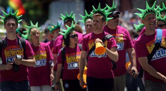 The American Civil Liberties Union of Massachusetts marched in the annual Boston Pride Parade yesterday.