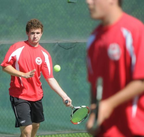 Wellesley doubles tandem Gordon Peters (left) and teammate Mitch Henry during a match against Sutton.