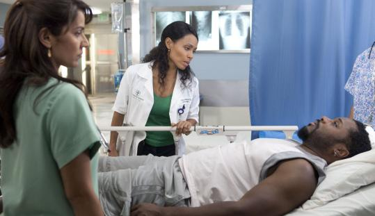 KAREN NEALJada Pinkett Smith (center, with Suleka Mathew and guest star Malcolm-Jamal Warner) plays a widowed saintly nurse in TNT's ''HawthoRNe.''