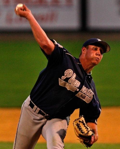 Plymouth North pitcher Joe Flynn hurls one in during the early innings.