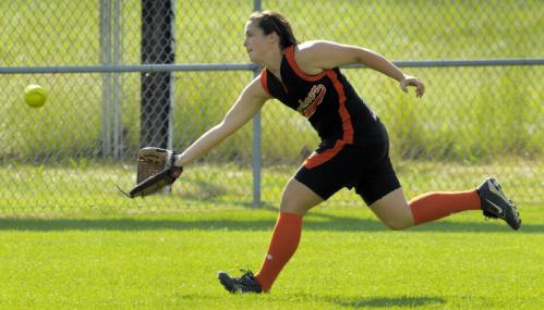 Gardner outfielder Erika Berube pulls in a short fly ball during the sixth inning.