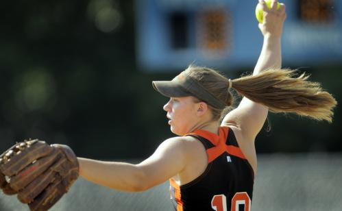 Gardner's Julia Barrett pitches against Lexington.