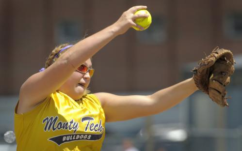 Monty Tech's Alyssa Babineau pitches against St. Mary's in the second inning.