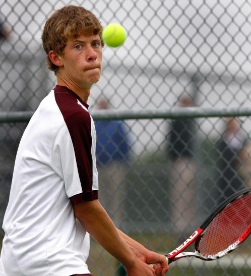 Concord-Carlisle's Alex Steinroeder waits to deliver a backhand.