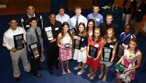 Globe Scholar-Athletes and Athletes of the Year pose with their awards at Sunday's Globe Scholar-Athletes Awards.