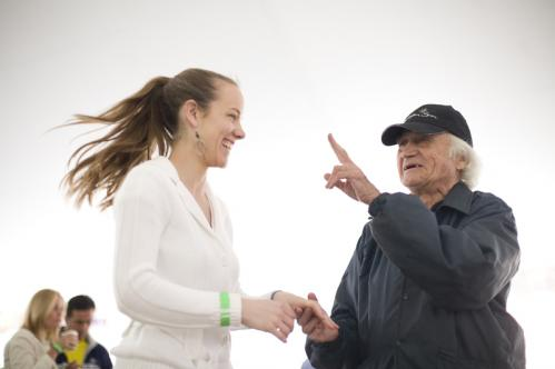 David Bren showed Michelle Park a few new moves. 'You don't need to know the steps unless you don't know how to dance,' said Bren, of Brookline. 'It is about the beat of the music.'