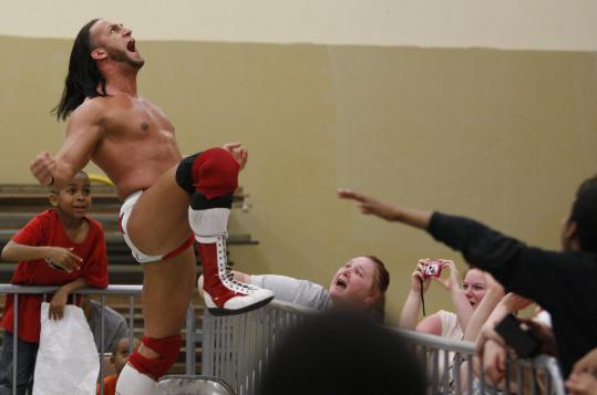Tomasso Ciampa gets himself, and the crowd, pumped up at Lawrence's Plains Community Center.