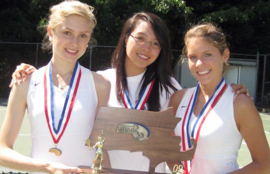 Winchester girls' tennis cocaptains Maria Arshanskiy, Wei-Yen Hsieh, and Brittany Campbell.
