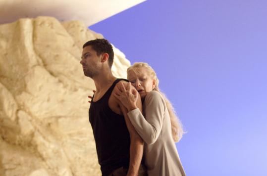 """Helen Mirren stars, with Dominic Cooper (above) as Hippolytus, in the National Theatre's production of """"Phèdre'' in London. It will be broadcast live to the United States this summer. The classic play-to-film """"Death of a Salesman'' (below) is screening today in Amherst."""