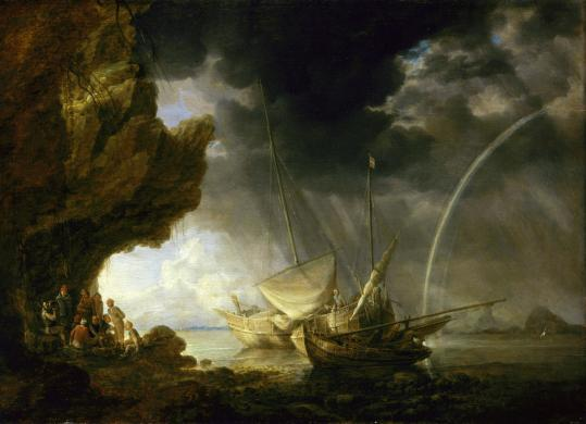 'Seascape With Sailors Sheltering From a Rainstorm,' by Bonaventura Peeters the Elder.