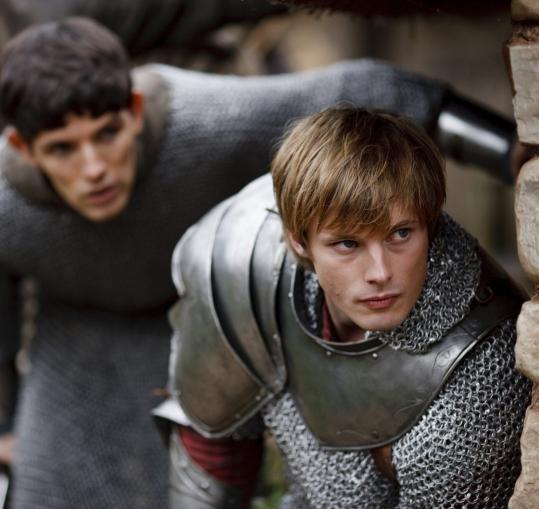 Colin Morgan (left) as Merlin and Bradley James as Arthur in NBC's series set in Camelot.