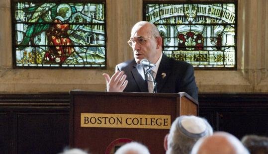 H. E. Mordechay Lewy, Israel's ambassador to the Vatican, gave the keynote address at a conference yesterday at Boston College.
