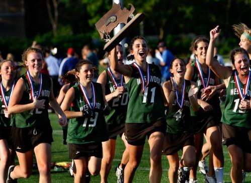 There's nothing like a little pressure to motivate the Westwood girls' lacrosse team. A 4-0 deficit against Longmeadow in the Division 1 state title game was just what the doctor ordered. A short time later, the Wolverines were celebrating their second straight state title after an 11-10 win. 'This whole tournament we've come from behind,' said senior captain Kelly Rich, who scored four goals to lead the comeback. 'We've been down and everyone knows when to step up and what to do.' The loss was frustrating for Western Mass. power Longmeadow, which lost in the title game for the fifth straight year.