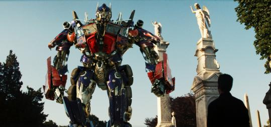 "Autobot Optimus Prime (voiced by Peter Cullen) joins forces with Sam Witwicky (Shia LaBeouf, right) in ""Transformers: Revenge of the Fallen.''"
