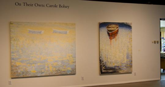 'Sea Light' and 'Red Boat II,' large-scale paintings by Carole Bolsey.