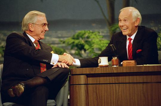 "Ed McMahon and Johnny Carson during the final taping of the ""Tonight Show,'' in 1992. Mr. McMahon, who went to high school in Lowell, started working with Carson in 1957."